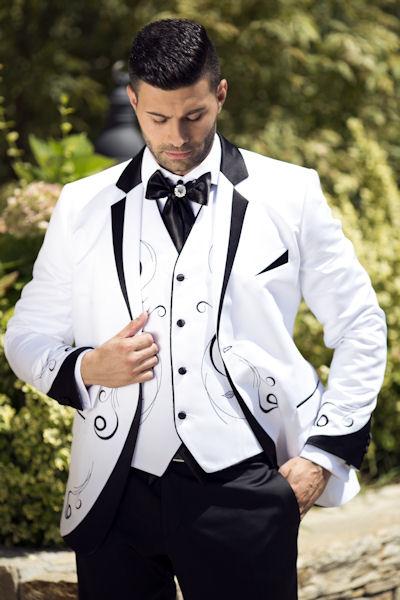 promo code f3f5f 5fa19 Hochzeitsanzug Herrenanzug 4teilig in weiss / schwarz mit Stickerei H9110